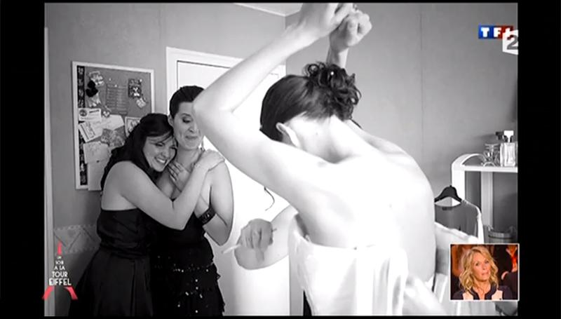 Capture écran de France 2 qui a diffusé mes images dans l'émission d'Alexandra Sublet : Un soir à la tour Eiffel dans le cadre d'un dossiers sur les mariages. Photographe mariage Angers
