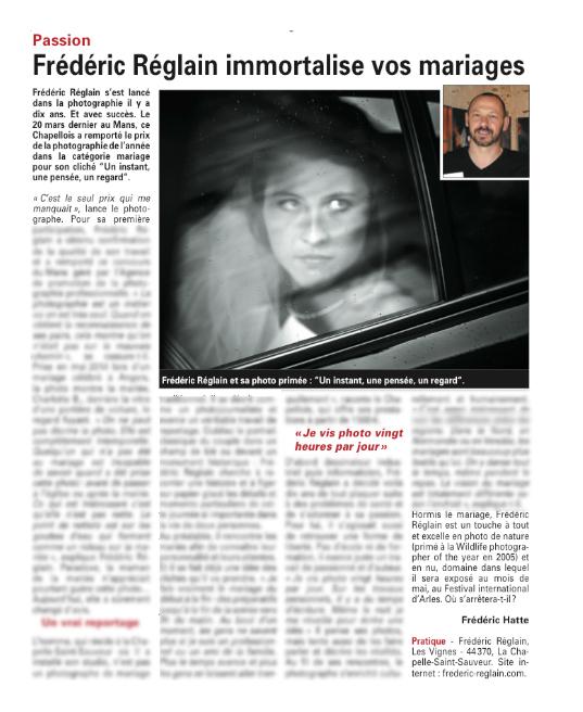 Frédéric REGLAIN - Photographe mariage ancenis Article sur Frederic Reglain , photographe mariage installé à la Chapelle saint sauveur ( Ancenis - Loire Atlantique), paru dans le Journal l'Echo d'Ancenis